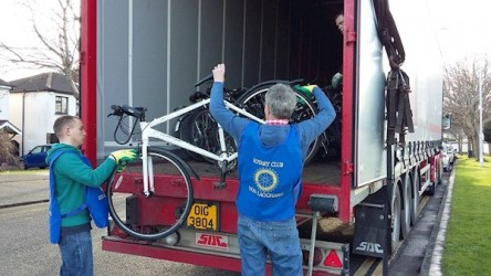Rotary gifts recycled bikes to Gambian kids